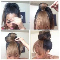 Faux bun with bangs