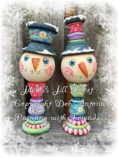 Jack & Jill Frost - Painted by Deb Antonick, Painting With Friends E Pattern by PaintingWithFriends on Etsy Wood Christmas Tree, Burlap Christmas, Christmas Balls, Christmas Wreaths, Christmas Crafts, Christmas Decorations, Christmas Ornaments, Christmas Ideas, Lightbulb Ornaments