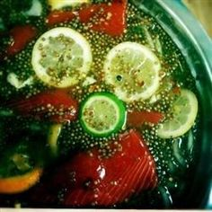 Salmon brine is made with lots of citrus flavor. It is also excellent for trout. This recipe makes enough to brine two large salmon fillets. Smoked Salmon Brine, Smoked Salmon Recipes, Smoked Fish, Fish Recipes, Seafood Recipes, Healthy Recipes, Seafood Meals, Smoked Trout, Yummy Recipes