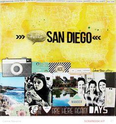 #papercraft #scrapbook #layout. Hello San Diego! by celine navarro at @studio_calico