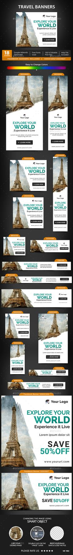Travel Web Banners Template PSD #ads #promote Download: http://graphicriver.net/item/travel-banners/14391763?ref=ksioks