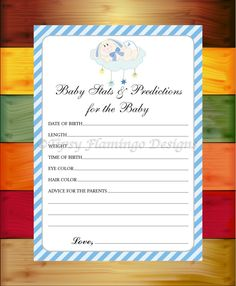 Baby Shower Game Baby Stats and Predictions for Baby, Baby Shower Cards, Sleepy Bunny, Baby Printable Instant Download - TFD-555 by TipsyFlamingoDesigns on Etsy