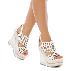 Morela - ShoeDazzle (MADISON collection, platform wedge with espadrille trim and cutout treatment on the vamp, also comes in tan and black) Wedge Sandals, Wedge Shoes, Shoes Heels, Crazy Shoes, Me Too Shoes, Cute Heels, Sneaker Heels, Shoe Dazzle, Buy Shoes