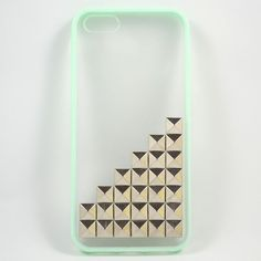 Mint Green Frosted Iphone 5 Case with silver Pyramid Studs