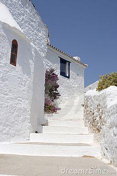 Skiathos Town streets on the Greek island of Skiathos