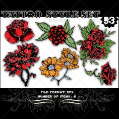 Tattoo Style Vector Set 93