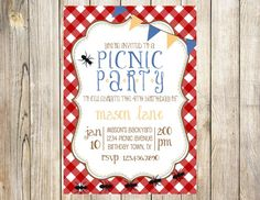 Hey, I found this really awesome Etsy listing at https://www.etsy.com/listing/173964635/picnic-birthday-party-invitation