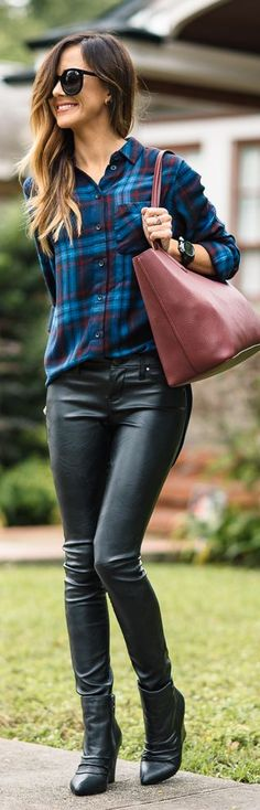 Black Booties Black Faux Leather Pants Blue Plaid Button Up Fall Inspo by Sequins & Things