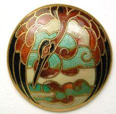 Antique French Enamel Button Colorful Crane Bird & Clouds Design