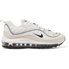 Nike Nike - Air Max 98 Leather And Nubuck-trimmed Mesh Sneakers -... (1.590 NOK) ❤ liked on Polyvore featuring shoes, sneakers, nike footwear, genuine leather shoes, white trainers, white mesh sneakers and mesh sneakers