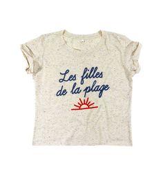 """Tee-shirt Les Bains court manche courte sérigraphié """"les filles à la plage"""""""