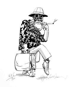 Ralph Steadman - HST.    Hunter S. Thompson/Raoul Duke, Fear and Loathing in Las Vegas