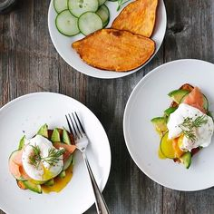 """Laying off bread for a while? Try a slice of baked sweet potato instead. Sweet Potato Toast with Avocado cucumber smoked salmon poached egg and dill by @downshiftology! Get the #recipe and 100 more of our favorite toast recipes from the Toast Feed on our Website 