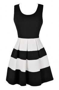 Black and Cream Pleated Stripe Skirt www.lilyboutique.com | New ...