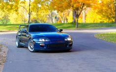 Toyota Supra, Japanese sports car, sports coupe, Japanese cars, tuning, Blue Supra, Toyota