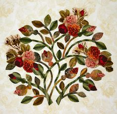 Beautiful block - features flowers cut from fabric in the old style