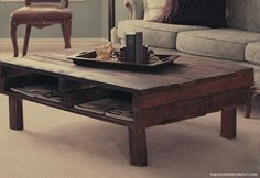 pallet coffee table--THIS is the best, and most realistic pallet put to use idea I've seen yet.