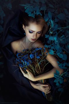 ❀ Flower Maiden Fantasy ❀ beautiful photography - Karina Chernova ll Dreaming your Dream a blue flower~~~