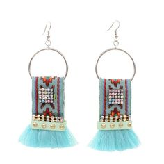 Embroidery Ribbon Crystal Tassel Earrings for Women Tassel Earrings, Crystal Earrings, Drop Earrings, Jewelry Party, Shape Patterns, Wholesale Jewelry, Fashion Earrings, Tassels, Ribbon