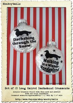 Set of 2 Long Haired Dachshund Christmas Ornaments - GREAT gift for the Doxie Lover !