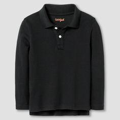 Toddler Boys' Long Sleeve Interlock Polo Shirt - Cat & Jack Black 2T