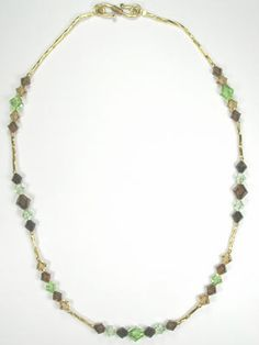 Brown and Green Handmade Swarovski Crystal Necklace