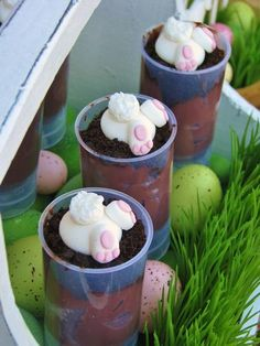 """easter pudding push pops with """"rabbits entering their bunny holes"""" {by Lynlee's Petite Cupcakes} -- http://www.hwtm.com/index.cfm?page=albums/view_album=4938=23"""