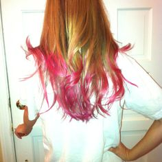 Yep I did it! DIY dip dye success! Just used some temp dye from Sally's and foil!! Perfect for a week a summer camp or breast cancer awareness!!