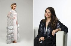 Noor, right, with one of her classic wedding designs, left. (Image: Sayidaty.net)