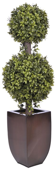 Artificial Double Ball Topiary in Planter