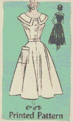 0 point de croix - cross stitch dress retro pattern