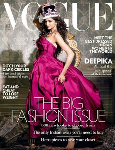 Deepika Padukone is the queen in strapless mauve gown on the cover of Vogue India September 2013