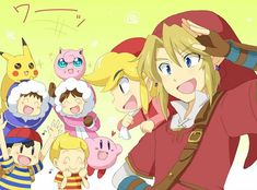 Ice Climbers (Popo & Nana), Red Link, Red Toon Link, Ness, Lucas, Jigglypuff, Kirby and Pikachu.