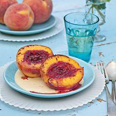 Peach Brûlée with Honey Crème Anglaise | MyRecipes.com
