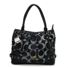 Look Here! Coach Poppy In Signature Medium Black Totes AEK Outlet Online