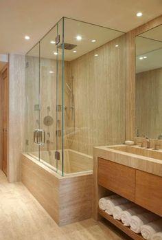 Contemporary Master Bathroom with frameless showerdoor, Flush, Undermount sink, stone slab showerbath, European Cabinets