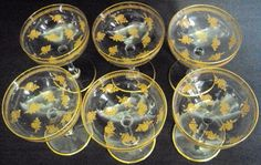 6 taças cristal francês baccarat seladas champanhe douradas