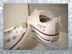 The ultimate wedding converse - with silver sparkles and chiffon bows on the toes and backstrips , these are also personalised with the brides new married name! Perfect for all the wedding dancing and showing off your new name on your honeymoon! Sparkly Converse, How To Lace Converse, Converse Vintage, Converse Wedding Shoes, White Converse, Bridesmaids, Lace Wedding Dress With Sleeves, Wedding Dresses, Honeymoons