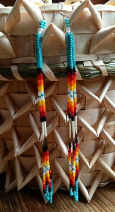 Mi'kmaq quilled earrings.  Made by Ingrid Brooks.  Indian Island, NB.