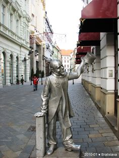 Statues in the Old Town-Bratialava. We saw several of these on our trip. The kids took pictures by each one!