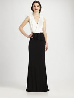 2d0f5741c4c David Meister Two-Tone Jersey Gown - ShopStyle Evening