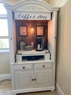 Coffee Bar Station, Coffee Station Kitchen, Coffee Bars In Kitchen, Coffee Bar Home, Coffee Stations, Diy Furniture Renovation, Furniture Makeover, Refurbished Furniture, Repurposed Furniture