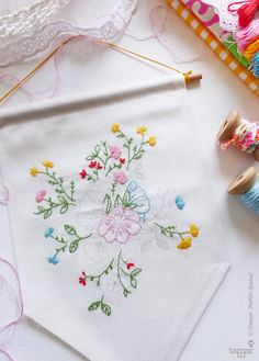 Embroidery flower Banner flag Gift ideas for by TamarNahirYanai