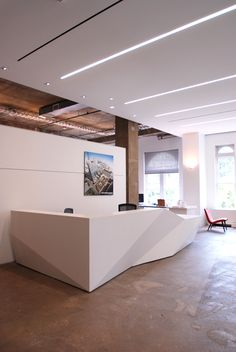 When renovating their DC office, STUDIOS Architecture contacted C.W. Keller to engineer and fabricate a striking reception desk. The faceted solid surface desk presented it's own unique challenges in that it needed to be in four individual parts and assembled in the field.
