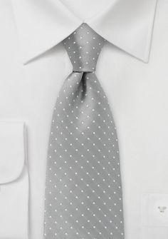 $10 Polka Dot Tie in Soft Gray