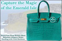 35cm Hermès Matte Malachite Alligator Birkin Handbag with Gold Hardware - Capture the Magic of the Emerald Isle