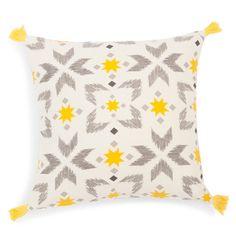 Housse de coussin à pompons en coton jaune/grise LEIRIA