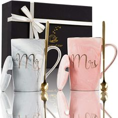 Amazon.com: Fantasy Functions Mr. and Mrs. Coffee Mugs. Perfect for Engagement, Bridal Shower, Wedding, Anniversary. Unique Elegant for Bride To Be. Marble Ceramic Mugs. 14 oz: Kitchen & Dining Wedding Gifts For Bride And Groom, Wedding Gifts For Couples, Bride Gifts, Marble Mugs, Ceramic Mugs, Engagement Gifts, Wedding Engagement, Metallic Gold Color, Bridal Shower Gifts