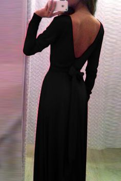 SexyLong Sleeves V Back Backless Ankle Length Dress With Bow on Luulla