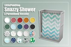 The Sims 4 Snazzy Shower - A Parenthood Recolor by thelittlepinkdino Maxis, Sims 4 Mm Cc, Sims Four, Sims 4 Mods Clothes, Sims 4 Clothing, Muebles Sims 4 Cc, Sims 4 Cc Furniture, Toddler Furniture, The Sims 4 Packs